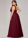 Plus Size Chiffon One Shoulder Long Bridesmaid Dress-Burgundy 2