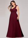 Plus Size Chiffon One Shoulder Long Bridesmaid Dress-Burgundy 3