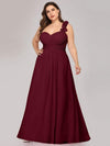 Plus Size Chiffon One Shoulder Long Bridesmaid Dress-Burgundy 4
