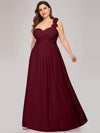 Plus Size Chiffon One Shoulder Long Bridesmaid Dress-Burgundy 1