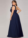 Plus Size Chiffon One Shoulder Long Bridesmaid Dress-Navy Blue 2