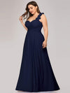 Plus Size Chiffon One Shoulder Long Bridesmaid Dress-Navy Blue 3
