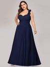 Plus Size Chiffon One Shoulder Long Bridesmaid Dress-Navy Blue 4