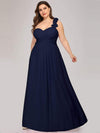 Plus Size Chiffon One Shoulder Long Bridesmaid Dress-Navy Blue 1