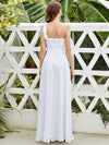 Chiffon One Shoulder Long Bridesmaid Dress-White 3