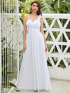 Chiffon One Shoulder Long Bridesmaid Dress-White 2