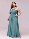 One Shoulder Evening Dress-Dusty Blue 3