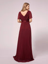 Simple Chiffon Maternity Dress with Flutter Sleeves-Burgundy 2