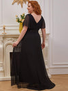 Plus Size Long Empire Waist Evening Dress With Short Flutter Sleeves-Black 2