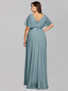 Plus Size Long Empire Waist Evening Dress With Short Flutter Sleeves-Dusty Blue 2