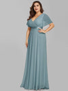 Plus Size Long Empire Waist Evening Dress With Short Flutter Sleeves-Dusty Blue 4
