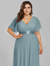 Plus Size Long Empire Waist Evening Dress With Short Flutter Sleeves-Dusty Blue 5