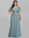 Plus Size Long Empire Waist Evening Dress With Short Flutter Sleeves-Dusty Blue 1