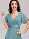 Long Empire Waist Evening Dress With Short Flutter Sleeves-Dusty Blue 5