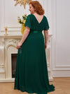 Plus Size Long Empire Waist Evening Dress With Short Flutter Sleeves-Dark Green 2