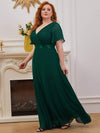 Plus Size Long Empire Waist Evening Dress With Short Flutter Sleeves-Dark Green 1