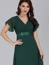 Long Empire Waist Evening Dress With Short Flutter Sleeves-Dark Green 5