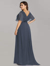 Long Empire Waist Evening Dress With Short Flutter Sleeves-Dusty Navy 14