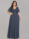 Plus Size Long Empire Waist Evening Dress With Short Flutter Sleeves-Dusty Navy 3