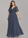 Long Empire Waist Evening Dress With Short Flutter Sleeves-Dusty Navy  13