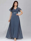 Long Empire Waist Evening Dress With Short Flutter Sleeves-Dusty Navy 6