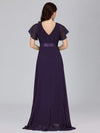 Long Empire Waist Evening Dress With Short Flutter Sleeves-Dark Purple 5
