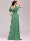 Long Empire Waist Evening Dress With Short Flutter Sleeves-Green Bean 2