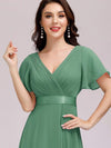 Long Empire Waist Evening Dress With Short Flutter Sleeves-Green Bean 5