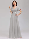 Long Empire Waist Evening Dress With Short Flutter Sleeves-Grey 1