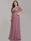 Plus Size Long Empire Waist Evening Dress With Short Flutter Sleeves-Purple Orchid 3