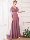 Long Empire Waist Evening Dress With Short Flutter Sleeves-Purple Orchid 7
