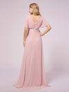 Simple Chiffon Maternity Dress with Flutter Sleeves-Pink 2