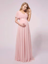 Simple Chiffon Maternity Dress with Flutter Sleeves-Pink 3