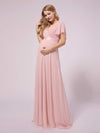 Simple Chiffon Maternity Dress with Flutter Sleeves-Pink 4
