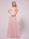 Simple Chiffon Maternity Dress with Flutter Sleeves-Pink 1
