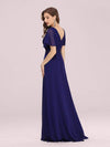 Long Empire Waist Evening Dress With Short Flutter Sleeves-Royal Blue 2