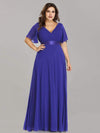 Plus Size Long Empire Waist Evening Dress With Short Flutter Sleeves-Sapphire Blue 4