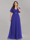 Plus Size Long Empire Waist Evening Dress With Short Flutter Sleeves-Sapphire Blue 3