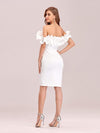Women'S Sexy Off Shoulder Bodycon Party Dress With Ruffles-White 5