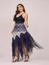 Women'S Sexy V Neck Floor Length Cocktail Prom Dress-Dark Purple 3