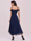 Asymmetrical Cold-Shoulder Chiffon High-Low Bridesmaid Dress-Navy Blue 4
