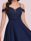 Asymmetrical Cold-Shoulder Chiffon High-Low Bridesmaid Dress-Navy Blue 7