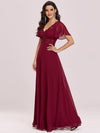 Stunning Long Bridesmaid Dress With Appliqued V Neck-Burgundy 2