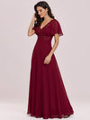 Stunning Long Bridesmaid Dress With Appliqued V Neck-Burgundy 3