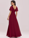 Stunning Long Bridesmaid Dress With Appliqued V Neck-Burgundy 4