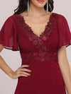 Stunning Long Bridesmaid Dress With Appliqued V Neck-Burgundy 5