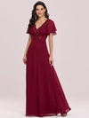 Stunning Long Bridesmaid Dress With Appliqued V Neck-Burgundy 1