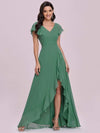 Cute Floor Length V Neck Chiffon Bridesmaid Dress-Green Bean 4