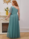 Plus Size A-Line Tulle Bridesmaid Dress With Beaded Waistline-Dusty Blue 2