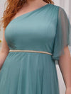Plus Size A-Line Tulle Bridesmaid Dress With Beaded Waistline-Dusty Blue 5